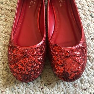 Ellie red glitter flats with bow shoes size 8